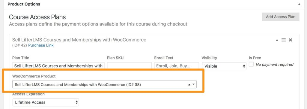 Add WooCommerce product to an access plan