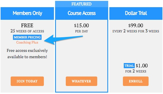member pricing tag