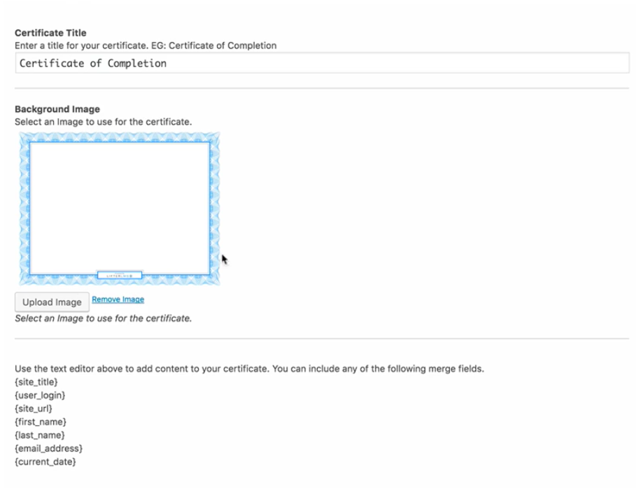 a default certificate background comes with lifterlms you can use the included background for your certificate or customize it by uploading your own
