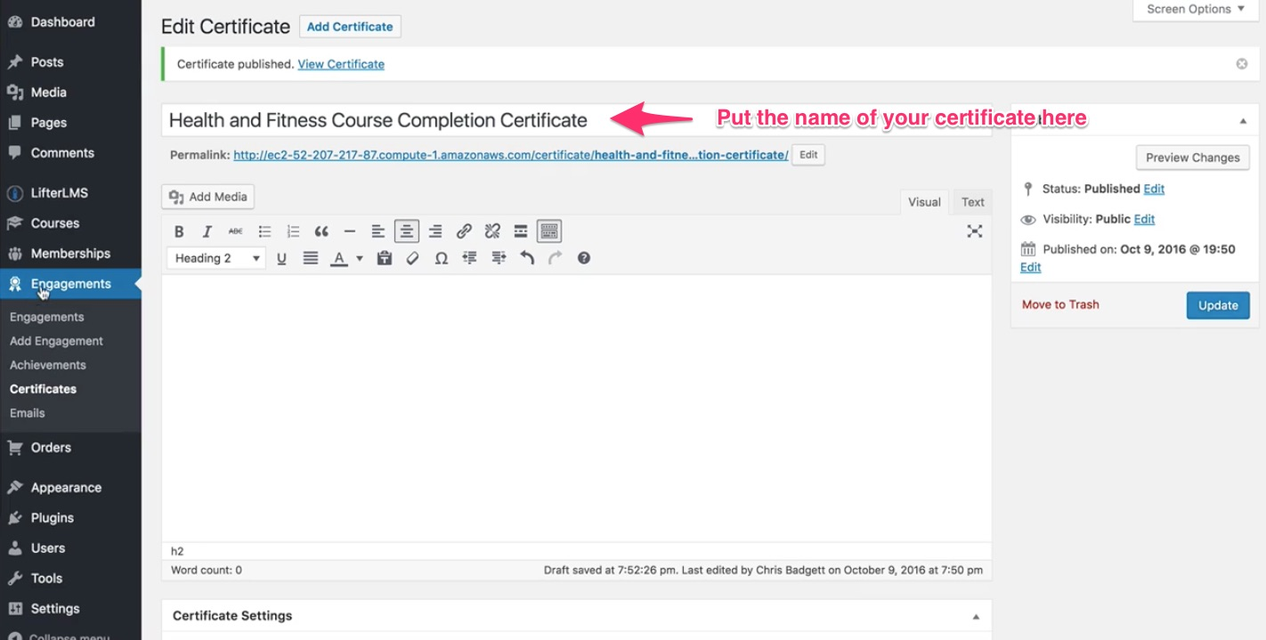 How To Create A Certificate Lifterlms