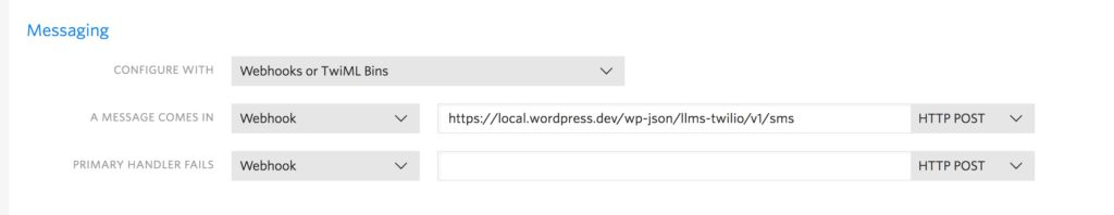 Twilio Webhook URL