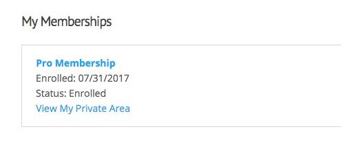 Private areas membership tile link