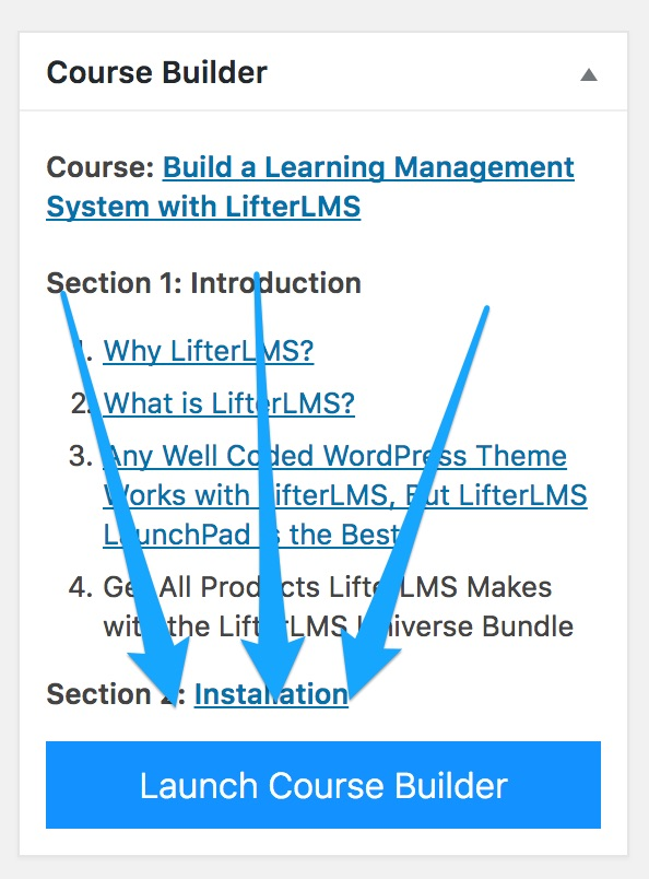 Launch the course builder