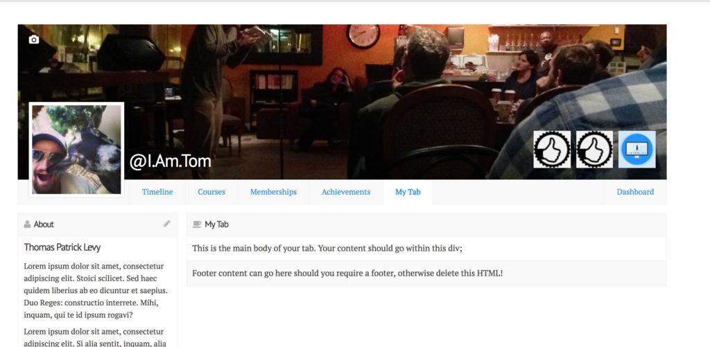 Custom Social Learning Profile Tab