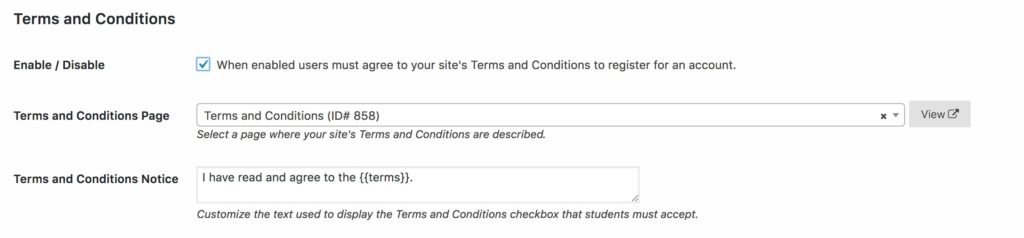 Terms and Conditions Settings