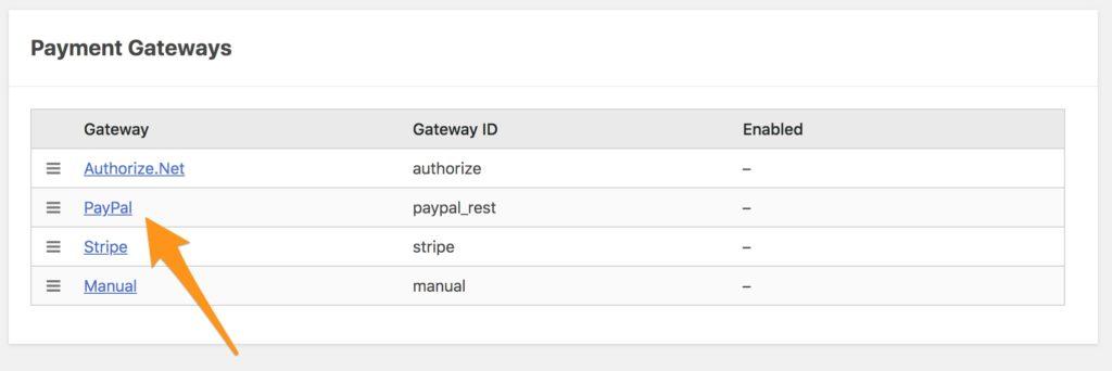 Payment Gateways Table
