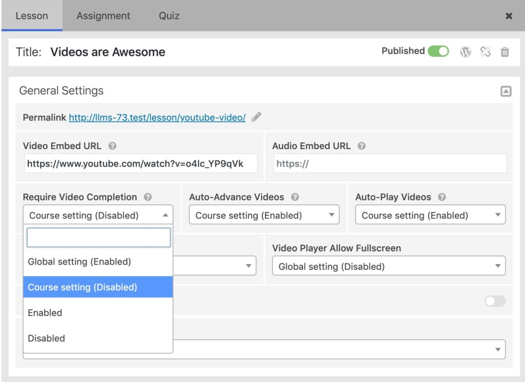 lesson video progression settings