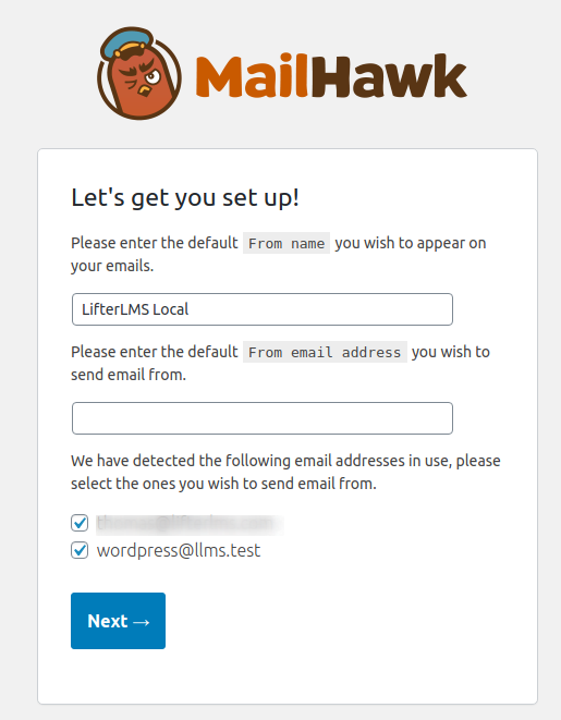 MailHawk WP Settings