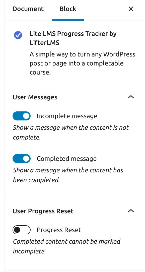 progress tracker block settings